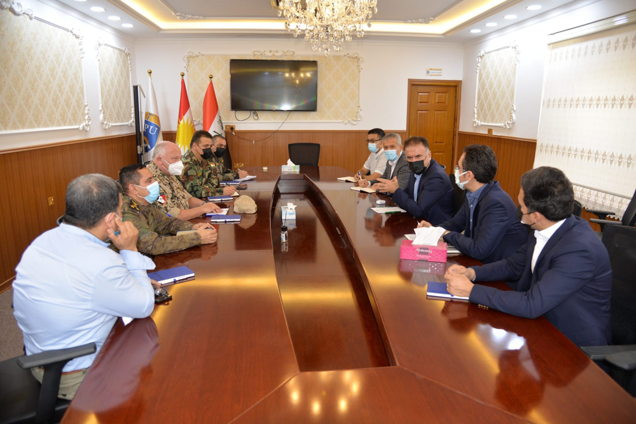 The Rector of the Erbil Polytechnic University Receives the Ministry of Peshmerga and the Coalition Forces delegation