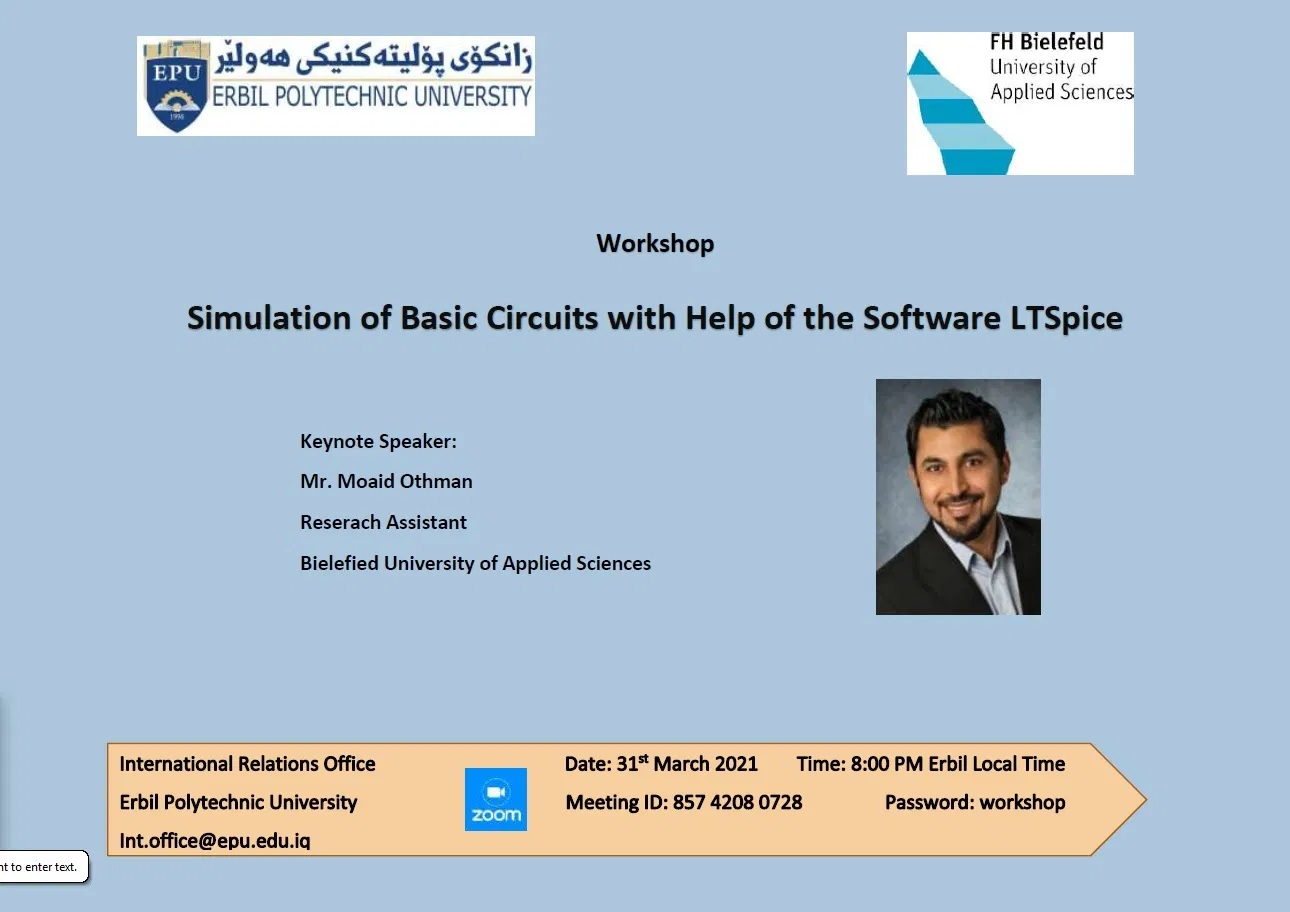 """EPU Will Present An Online Workshop For The Students Under the title """"Simulation Of Basic Circuits With The Help Of The Software LTSpice"""""""